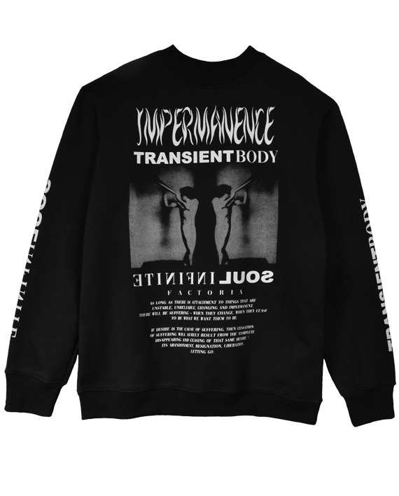 MOLETOM CARECA OVERSIZED __IMPERMANENCE PRETO